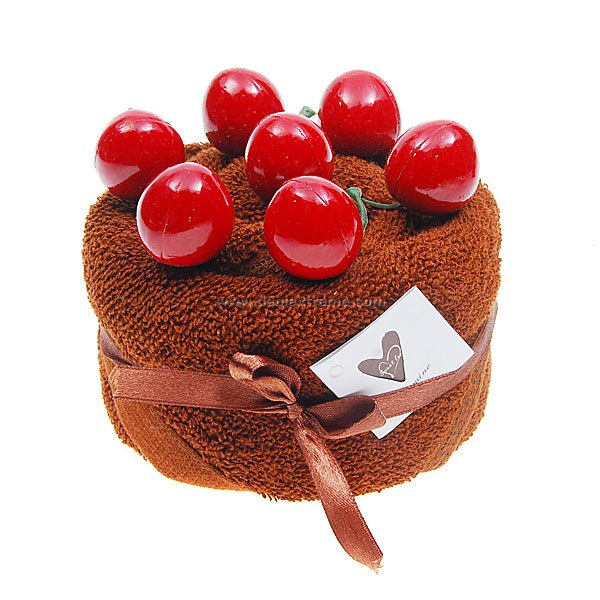 Cherry Cake Style Towel Gift (with Cake Box)