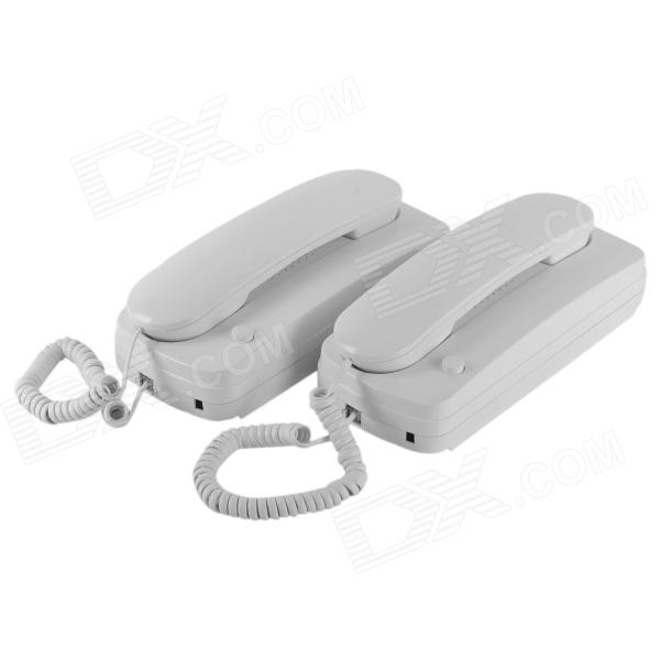 Wired Intercom Telephone System with Wall Mount - White (2PCS)
