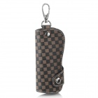 CP002 Universal Genuine Leather Protective Pouch Keychain for Car Smart Key - Brown + Black