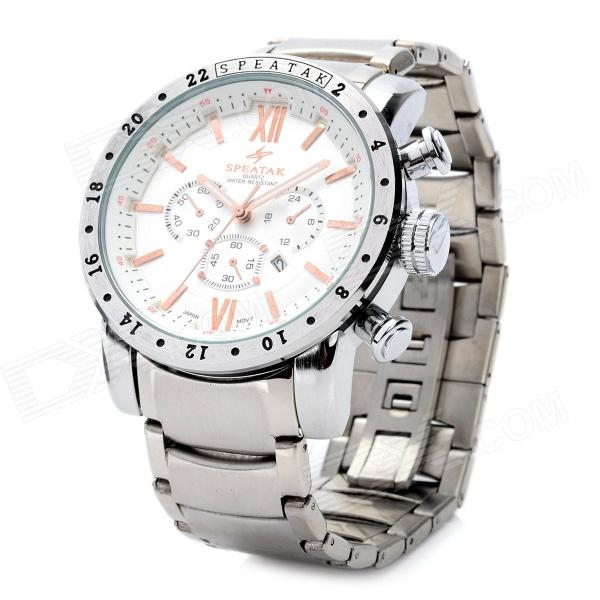 SPEATAK TAK9004S-W Stainless Steel Quartz Analog Waterproof Wrist Watch - Silver (1 x CR626)