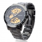 Daybird 3424-3 Semi-Hollow Stainless Steel Mechanical Analog Waterproof Wrist Watch - Black