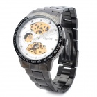 Daybird 3424-3 Semi-Hollow Stainless Steel Mechanical Analog Waterproof Wrist Watch - White + Black