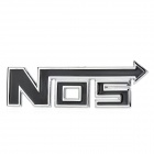 "3D ""NOS"" Style Grill Decoration Emblem for Car Tuning - Silver + Black"