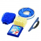 6-in-1 Auto Vehicle Car Washing Cleaner Bucket Towel Sponge Set - Blue