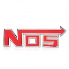 "3D ""NOS"" Style Grill Decoration Emblem for Car Tuning - Silver + Red"