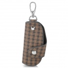 CP006 Universal Genuine Leather Protective Pouch Keychain for Car Smart Key - Brown + Black