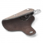 Universal Genuine Leather Protective Pouch Keychain for Car Smart Key - Brown + Black