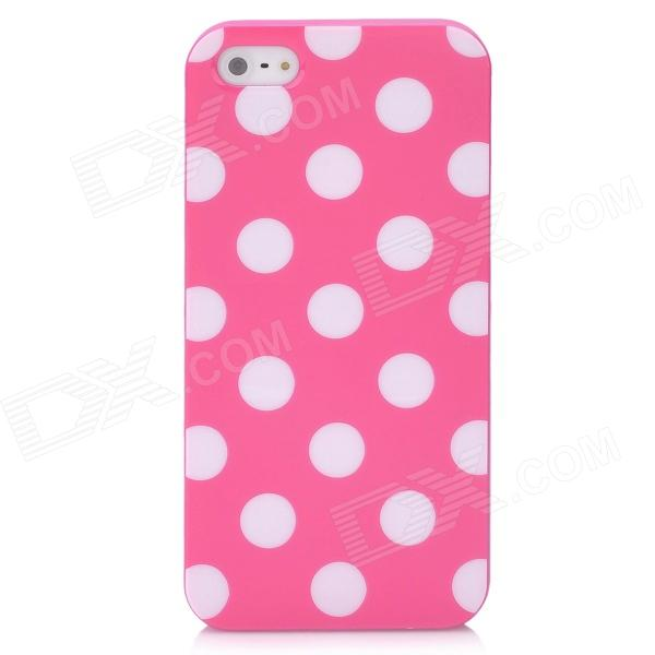 Polka Point Pattern Protective TPU Leather Back Case for Iphone 5 - Deep Pink + White virgo pattern protective abs pc hard back case w rhinestone for iphone 5 deep pink white
