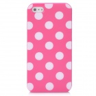 Polka Point Pattern Protective TPU Leather Back Case for Iphone 5 - Deep Pink + White