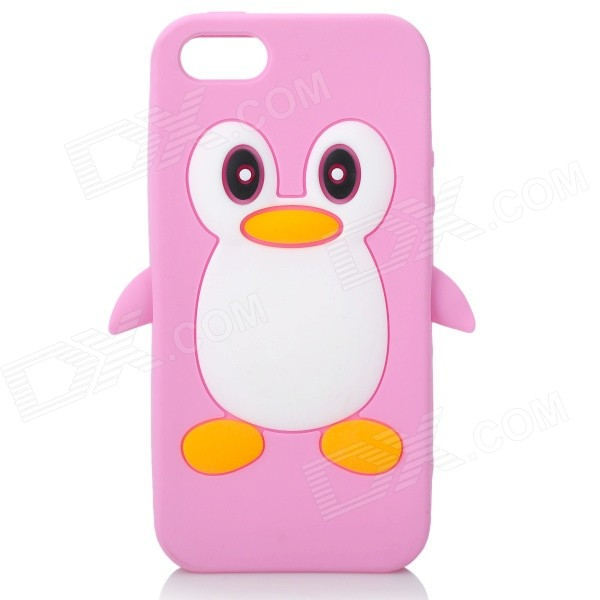 Cute Penguin Style Protective Silicone Back Case for Iphone 5 - Pink cute marshmallow style silicone back case for iphone 5 5s yellow white