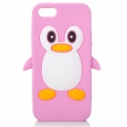 Cute Penguin Style Protective Silicone Back Case for Iphone 5 - Pink