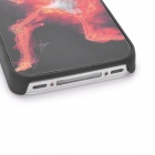 3D Burning Guitar Skeleton Pattern Protective Plastic Back Case for Iphone 4 / 4S - Black + Red