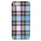 Checked Pattern Protective ABS Hard Back Case for Iphone 5 - Black + Green + White - Blue