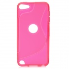 S Line Wave Curve Protective TPU Soft Back Case Cover for Ipod Touch 5 - Deep Pink