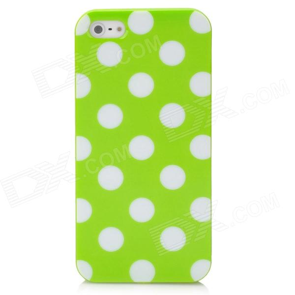 Polka Point Pattern Protective TPU Soft Back Case for Iphone 5 - Green + White holes pattern protective tpu back case for iphone 6 plus 5 5 yellow