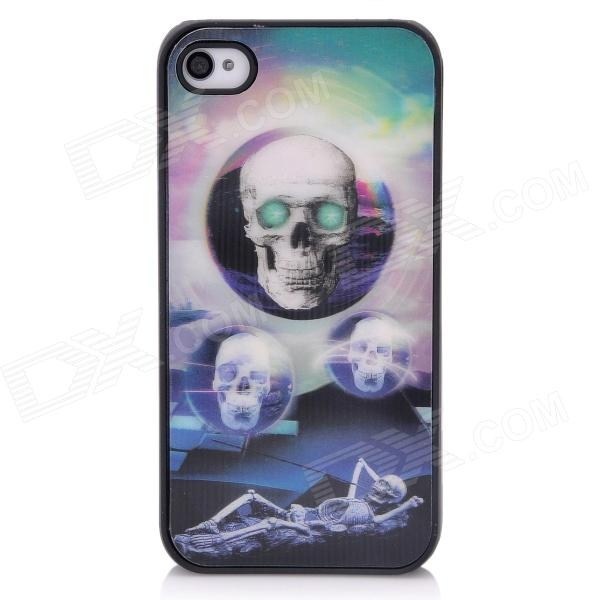 3D Skeleton Pattern Protective Plastic Back Case for Iphone 4 / 4S - Black