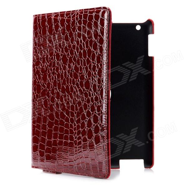 Alligator Pattern Protective PU Leather Case for Ipad 2 / the New Ipad - Wine Red