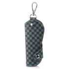 CP008 Universal Genuine Leather Protective Pouch Keychain for Car Smart Key - Grey + Black