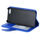 PU Protective Case Open Leather Flip para Iphone 5 - Azul