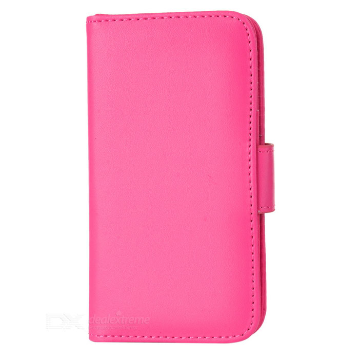 Protective PU Leather Flip Open Case for Iphone 5 - Deep Pink protective flip open pu leather case for iphone 4 4s pink