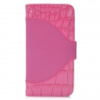 Crocodile Embossed Pattern Protective PU Leather Flip Open Case for Iphone 5 - Deep Pink