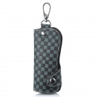 CP007 Universal Genuine Leather Protective Pouch Keychain for Car Smart Key - Grey + Black