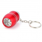 BY005 Mini Aluminum Alloy 6-LED Waterproof Flashlight Keychain - Red (2 x CR2032)