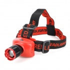 NEW-568 250lm 3-Mode Neutral White Zooming Headlamp - Black + Red (3 x AAA)