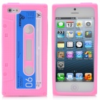 I5CP Retro Cassette Pattern Protective Silicone Back Case for iPhone 5 - Pink