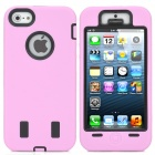 Robot Style Double Layer Protective PVC Hard Case for iPhone 5 - Black + Pink
