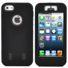 Robot Style Double Layer Protective PVC Hard Case for iPhone 5 - Black