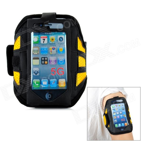 Trendy Sports Outdoor Net Fabric Armband for Iphone 5 - Yellow + Black