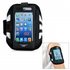 Trendy Sports Outdoor Net Fabric Armband for Iphone 5 - White + Black