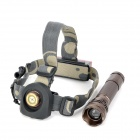 6811 Cree XM-L T6 385lm 5-Mode White Flashlight w/ 5-Red LED 3-Mode Head Strap - Brown (1 x 18650)