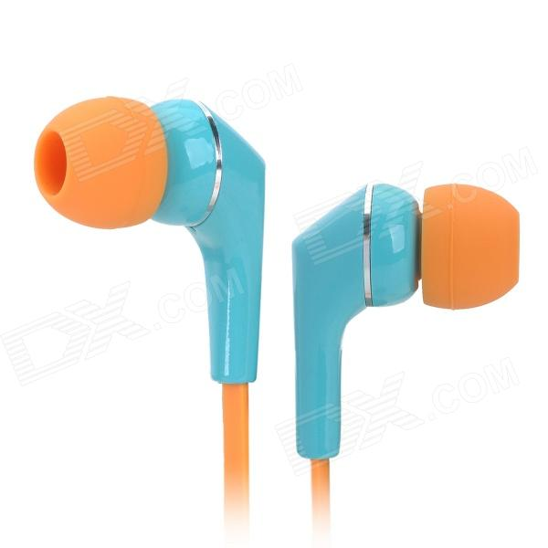 AWEI Q7I Flat In-Ear Earphone w/ Microphone / Clip - Blue + Orange (3.5mm Plug / 120cm) awei q7i stylish in ear earphone with microphone for iphone ipad more orange green