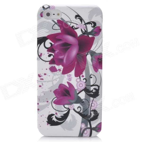 Flower Pattern Protective Silicone Back Case w/ Glossy Screen Protector for Iphone 5 - Colorful