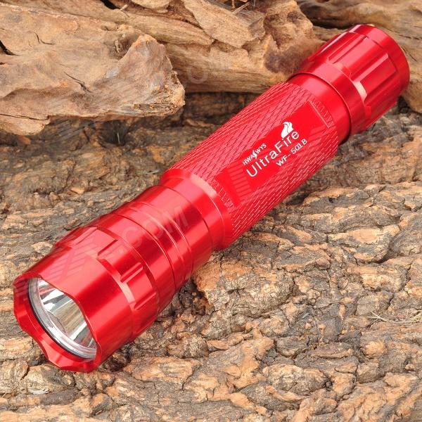 UltraFire WF-501B 885lm 1-Mode White Light Flashlight - Red (1 x 18650) ultrafire wf 504b 680lm 1 mode led flashlight xm l t6 white light led lamp torch w battery and charger 1 x 18650