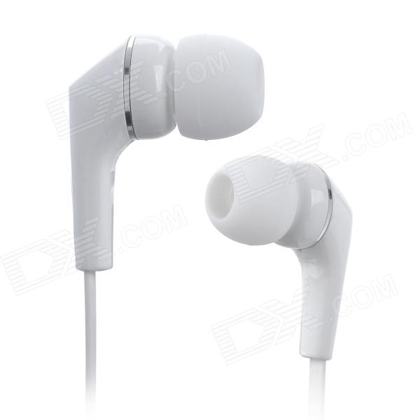 AWEI Q7I Flat In-Ear Earphone w/ Microphone / Clip - White (3.5mm Plug / 120cm) awei q7i stylish in ear earphone with microphone for iphone ipad more orange green