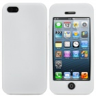 Full Protective Plastic Hard Case w/ Silicone Soft Back Cover for iPhone 5 - Transparent + White