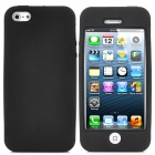 Full Protective Plastic Hard Case w/ Silicone Soft Back Cover for iPhone 5 - Transparent + Black