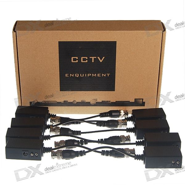 Video Balun Transceptores - Video BNC apantallado RJ45 sobre adaptadores de cable (8-Piece Set)