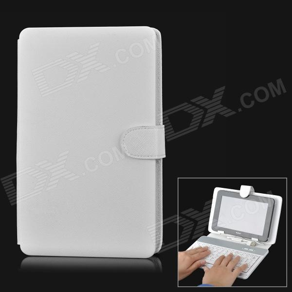 "80-Key Wired Keyboard w/ Protective Artificial Leather Case for 7"" Tablet PC - White"
