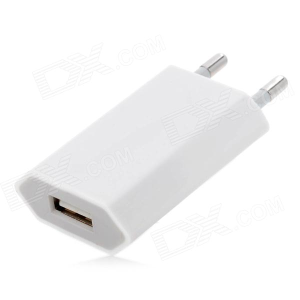 USB 2.0 EU Plug Power Adapter for Iphone 5 - White