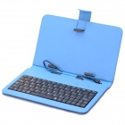 "80-Key Wired Keyboard w / Case protetor de couro artificial para 7 Tablet PC ""- preto + azul escuro"