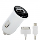 LDNIO DL-212 Auto Zigarette Powered Charger w / 30-pin / Micro USB Adapter - White