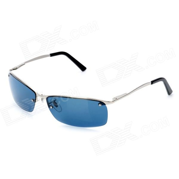 OREKA 3187 Outdoor Sport UV400 Protection Blue Lens Polarized Sunglasses - Silver clip on uv400 protection resin lens attachment sunglasses small