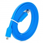 USB 2.0 Male to Mini USB Male Data Flat Cable - Blue (1.5m)