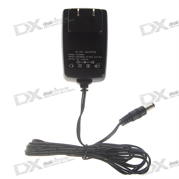 AC to DC 12V 1A Power Adaptor with 5.4mm DC Plug - US Type (110~240V)