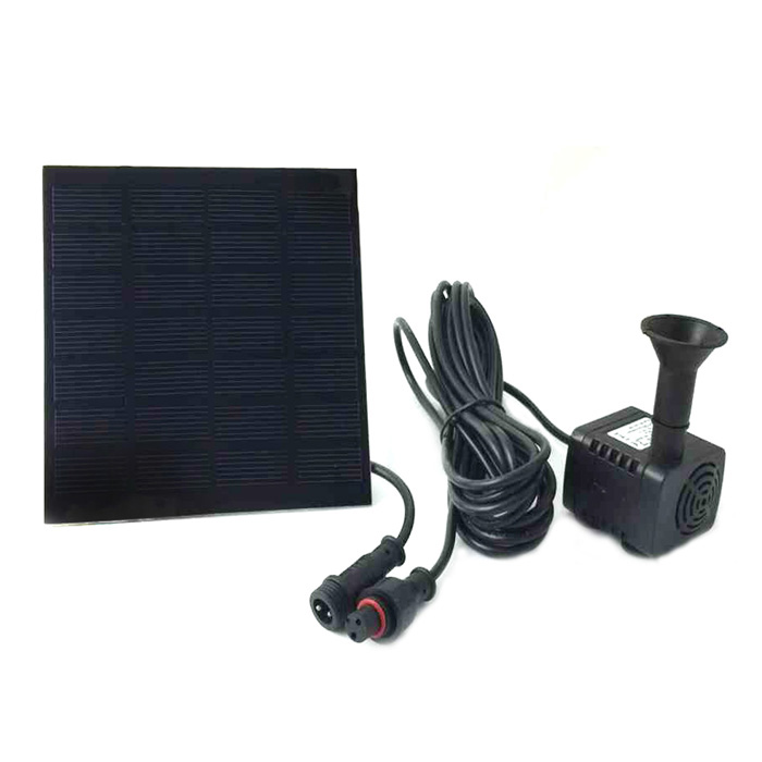 Solar Powered Mini Water Pump Fountain Pool Garden Watering - Black