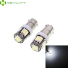 SENCART BAX9S 2.5W 380lm 7200K 5-SMD 5060 LED White Light Car Steering / Backup Light (12V / 2 PCS)